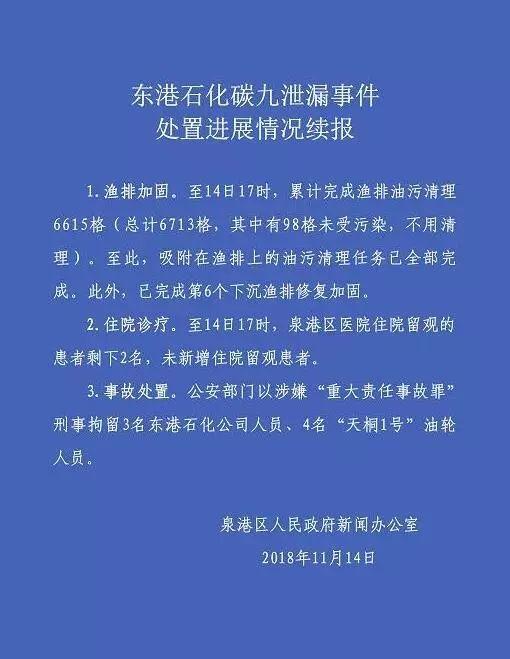涉嫌重大责任事故罪!泉港碳九泄漏事故7名人员被刑拘
